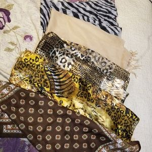 Accessories - 5 Animal Print Paisley Tan Silky Soft Scarves Lot